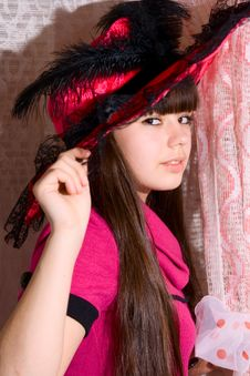 Free Lovely Girl In Pink Dress And Hat Stock Image - 13949511