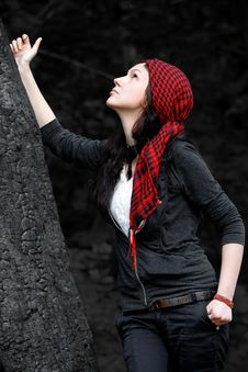 Free Girl In Red Scarf Royalty Free Stock Image - 13949736