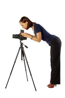 Free Beautiful Female Photographer With Big Camera Royalty Free Stock Images - 13949759