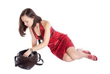 Free Girl In Red Dress With Bag Royalty Free Stock Images - 13949769