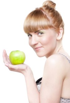 Free Smiling Girl With Green Apple Stock Photography - 13949832