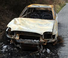 Car Burnt Out Wreckage Stock Image