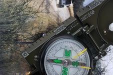 A Compass With Range Finder And Travel Image Stock Photography