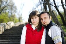Free Young Couple In A Forest Royalty Free Stock Photo - 13952375
