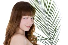 Free Woman Hiding Behind The Big Green Palm Leaf Stock Images - 13953094