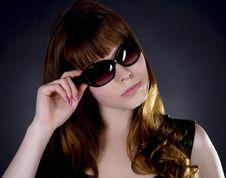 Free Young Beautiful Woman Wearing Sunglasse Royalty Free Stock Photography - 13953157