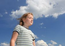 Free Girl Over Sky Stock Photography - 13954932