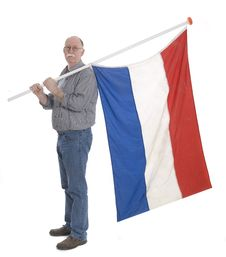 Free Man Holding A Flag Stock Image - 13955051