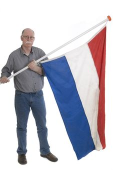 Man Holding A Flag Royalty Free Stock Image