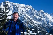 Free Man In The Alps Royalty Free Stock Photo - 13955605