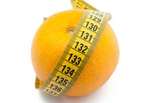 Free Fresh Orange With Measuring Tape Stock Photo - 13956250