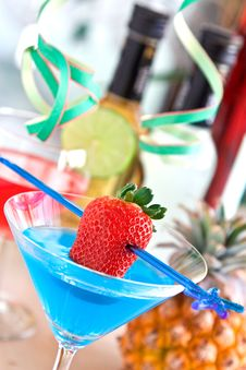 Cocktail With Strawberry Stock Images