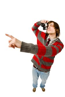 Funny Fisheye Portrait Of Man With Camera Royalty Free Stock Images