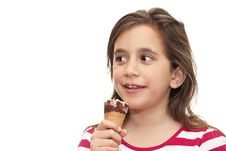 Free Small Girl Eating An Ice Cream Cone Royalty Free Stock Photography - 13958137