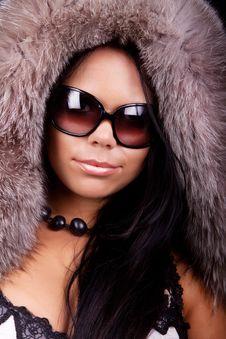 Free Girl Wearing Fur Cap Stock Photos - 13959373