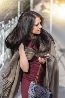 Gorgeous Girl In Eco Fur Coat On Sidewalk Change Hair Stock Images