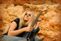 Free The Beautiful Blonde With A Guitar Stock Photo - 13966480
