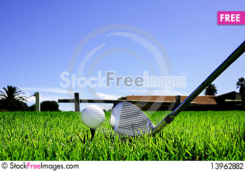 Free Ball And Golf Clubs Stock Photography - 13962882