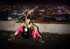 Free Night Concert On A House Roof Royalty Free Stock Photography - 13960197