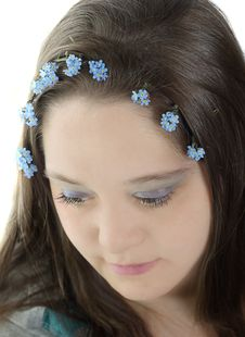 Free Young Woman And Flowers In Her Hair Stock Photos - 13961583