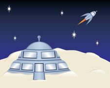 Free Moon House And Rocket Ship Royalty Free Stock Photography - 13961817