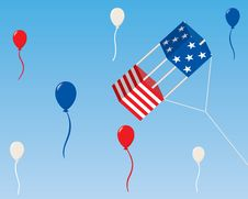American Box Kite With Balloons Stock Images