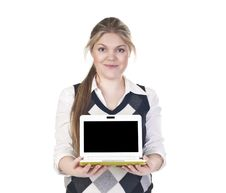 Attractive Business Woman With Laptop Stock Images