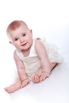 Very Cute Happy Baby Girl Wearing Princess Dress