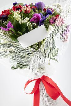 Free Bouquet Of Flowers With Blank White Card Stock Photos - 13962713