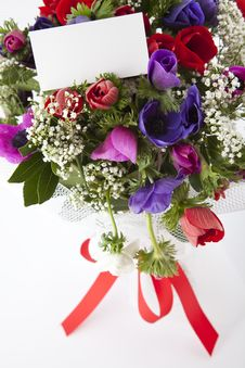 Free Bouquet Of Flowers With Blank White Card Stock Images - 13963304