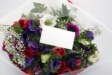 Free Bouquet Of Flowers With Blank White Card Stock Photography - 13963492