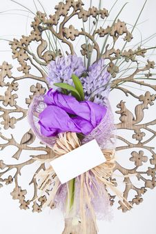 Free Bouquet Of Flowers With Blank White Card Stock Images - 13963934