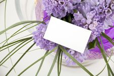 Free Bouquet Of Flowers With Blank White Card Stock Photos - 13964033