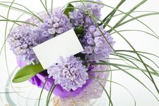 Free Bouquet Of Flowers With Blank White Card Royalty Free Stock Image - 13964106