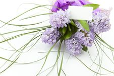 Free Bouquet Of Flowers With Blank White Card Stock Image - 13964121