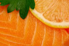 Close Up Of Raw Salmon Fillet Stock Photo