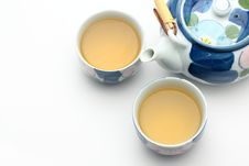 Decorative Teapot And Two Cups Of Tea Royalty Free Stock Images