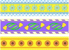 Jpg.  Borders With Flowers, Stripes, Dots And Ging Royalty Free Stock Photography