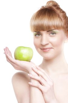 Free Smiling Girl With Green Apple Royalty Free Stock Photos - 13965018