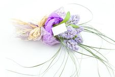 Free Bouquet Of Flowers With Blank White Card Royalty Free Stock Image - 13965236