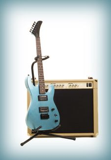 Free Amplifier And Guitar On Gradient Background Royalty Free Stock Photos - 13966338