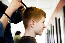 Free Smiling Boy With Red Hair At The Hairdresser Royalty Free Stock Image - 13966956