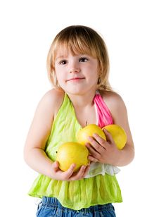 Free Little Girl With Armful Of Apples Stock Images - 13967124