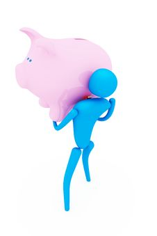3d Person Holding Piggy Bank Royalty Free Stock Photography