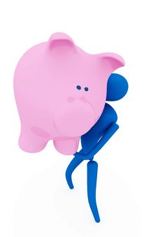 Person Holding Piggy Bank Royalty Free Stock Photography