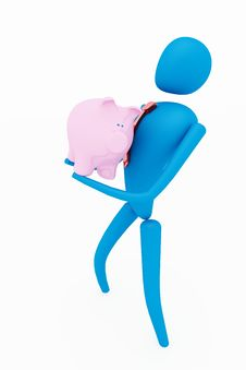 3d Person Holding Piggy Bank Stock Photography