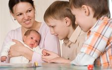 Free Mother With  Sons And Newborn Stock Photography - 13968362