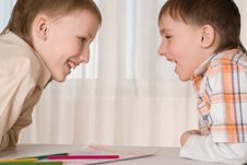 Brothers Sitting At The Table Royalty Free Stock Photography