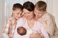 Free Young Mother With Three Kids Stock Photo - 13968540