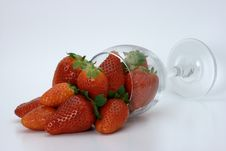 Free Strawberries Spilling Out Of A Glass Stock Image - 13968791